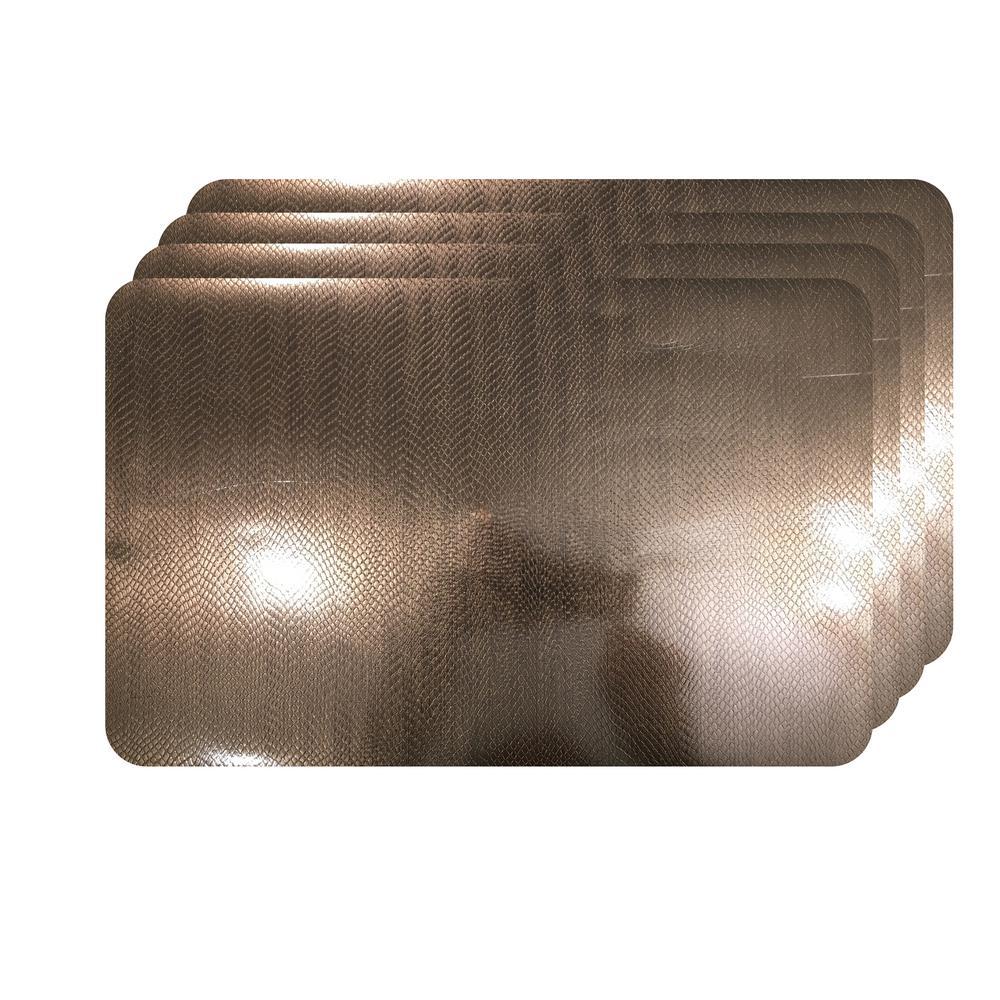 Crocodile Skin Bronze Metallic Textured Placemat (Set of 4)