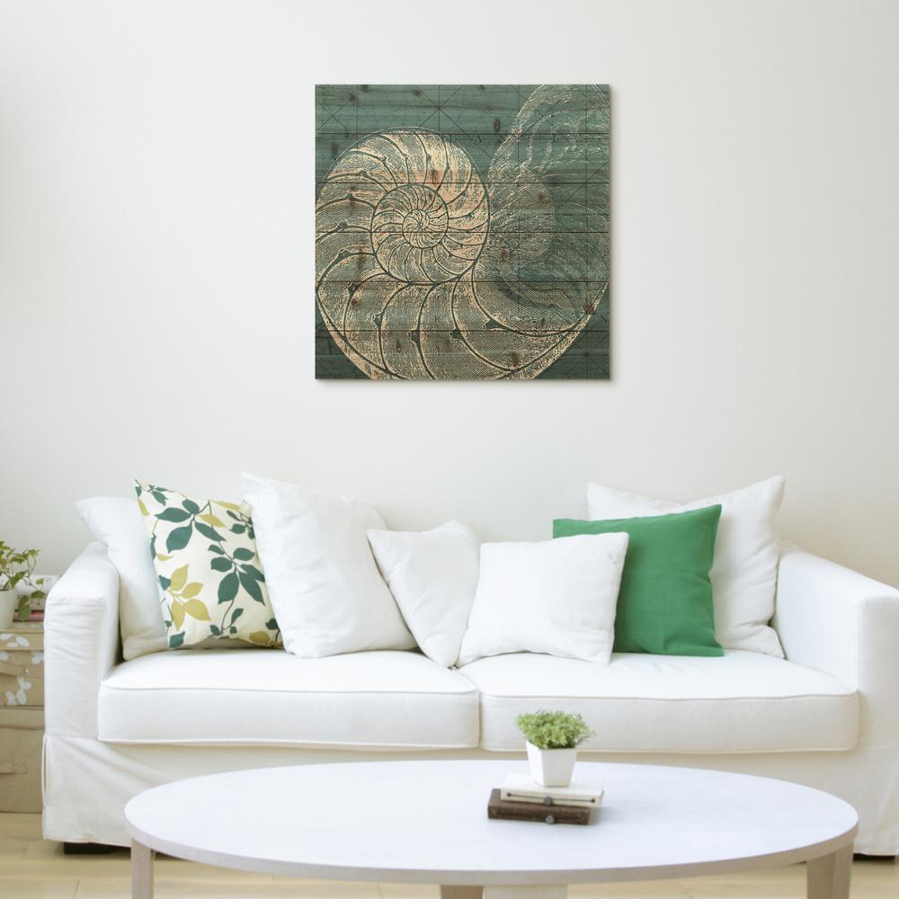 """24 in. x 24 in. """"Coastal Menagerie A"""" Arte de Legno Digital Print on Solid Wood Wall Art"""