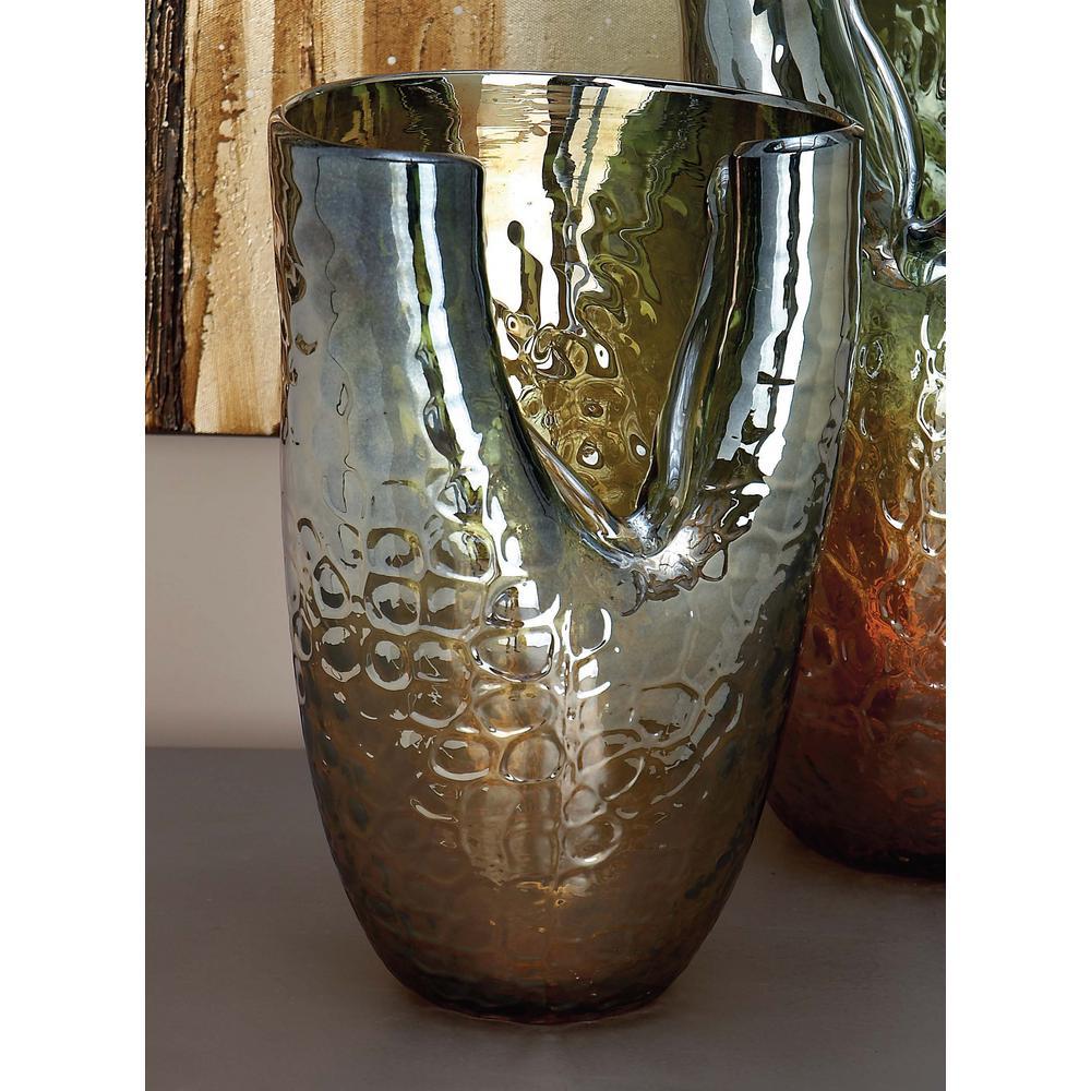 11 in iridescent glass decorative vase in golden orange for Orange vase
