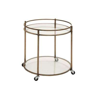 Antique Brass 2-Tier Glass Cart