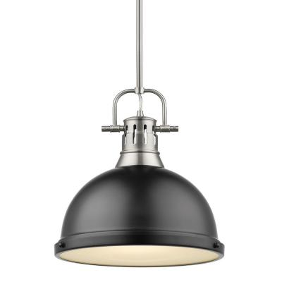Duncan 1-Light Pewter Pendant and Rod with Matte Black Shade