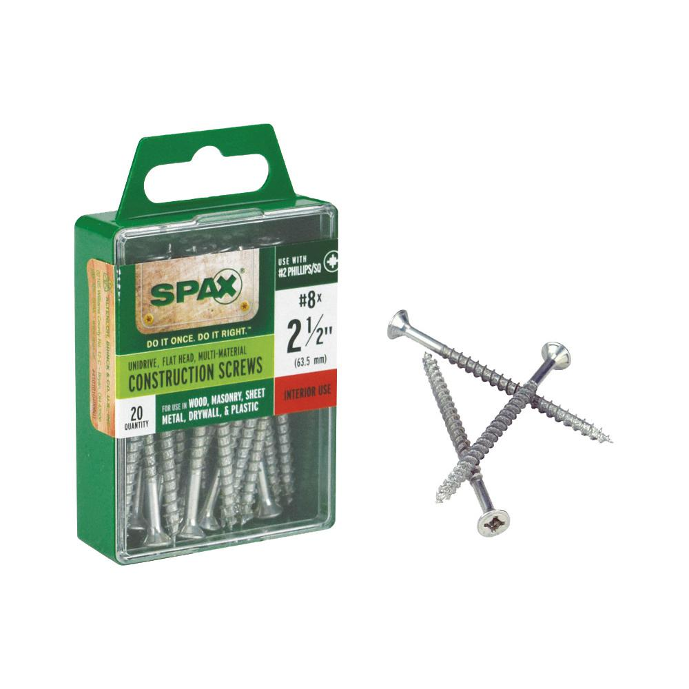 SPAX #8 x 2-1/2 in  Philips Square Drive Flat-Head Full Thread Zinc Coated  Multi-Material Screw (20 per Box)