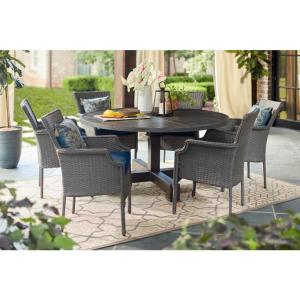 Grayson Ash Gray 7-Piece Wicker Round Outdoor Dining Set with Olefin Blue Cushions