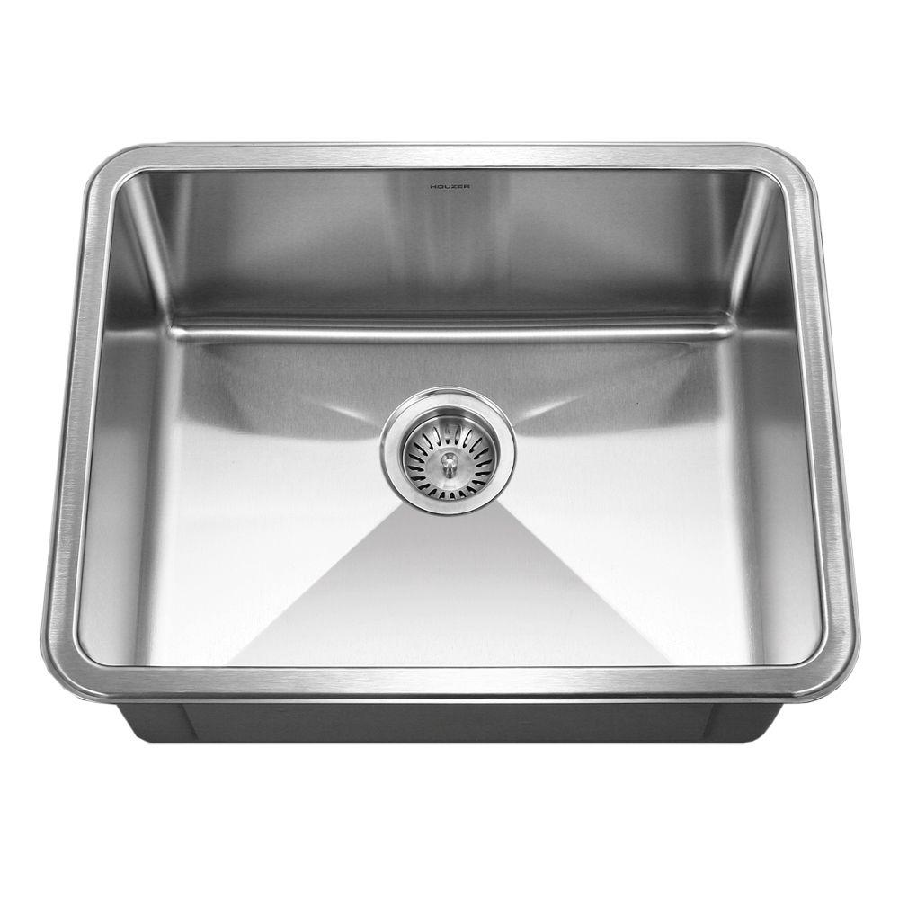 HOUZER Nouvelle Series Undermount 23 in. Single Basin Kitchen Sink in Stainless Steel