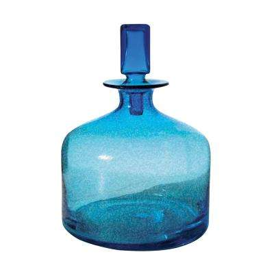 9 in. x 12 in. Glass Decorative Decanter in Pool Blue