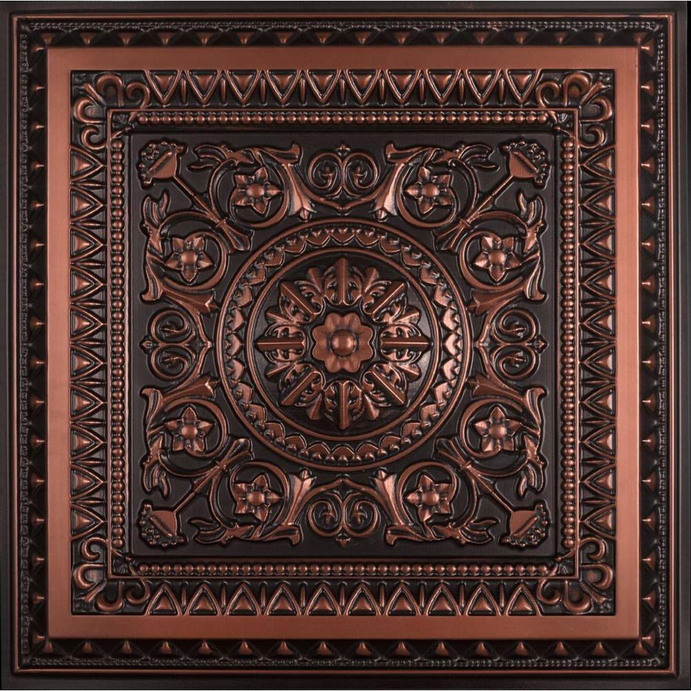 La Scala 2 Ft X 2 Ft Pvc Lay In Or Glue Up Ceiling Tile In Antique
