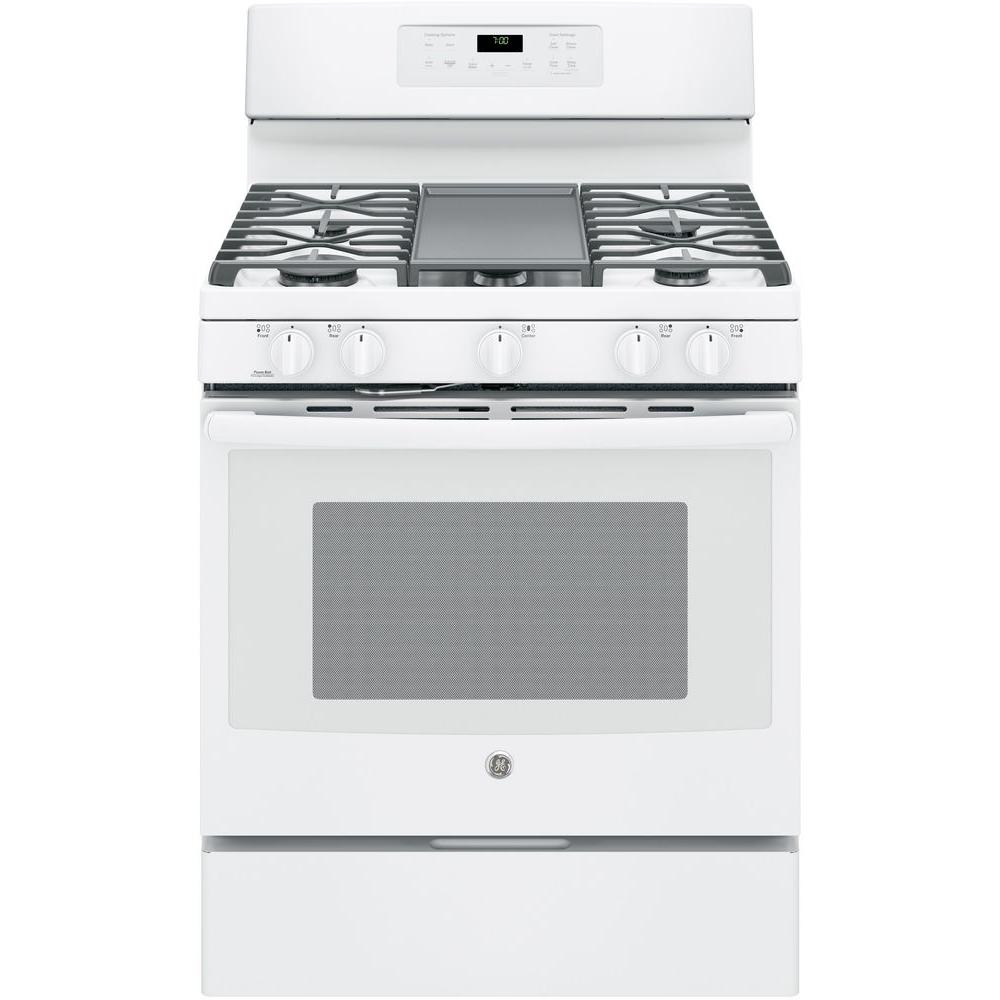 ge 5 0 cu ft gas range with self cleaning convection oven in white jgb700dejww the home depot. Black Bedroom Furniture Sets. Home Design Ideas