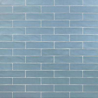 Strait Blue 3 in. x 12 in. 8 mm Polished Ceramic Subway Wall Tile (22 piece 5.38 sq. ft. / Box)
