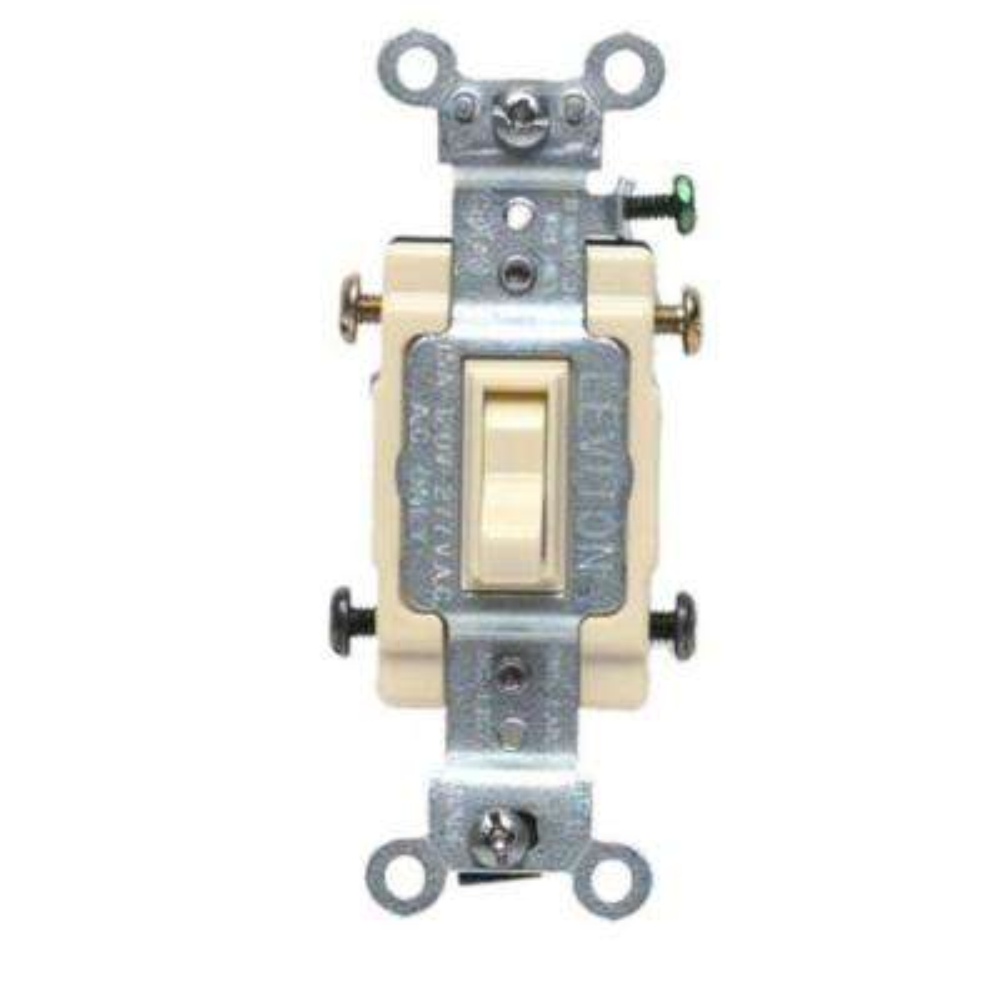 15 Amp Single-Pole Toggle Framed 4-Way AC Switch, Ivory
