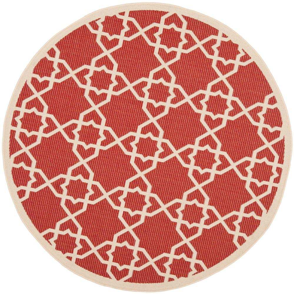 Safavieh Courtyard Red/Beige 6 Ft. 7 In. X 6 Ft. 7 In