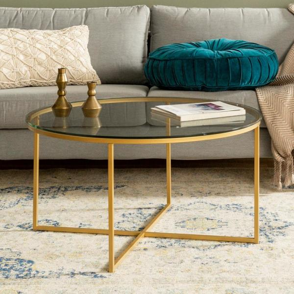 36 in. Glass/Gold Mid-Century Modern X-Base Coffee Table