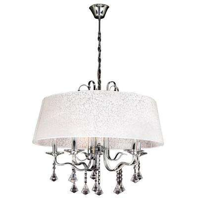 5-Light Polished Chrome Chandelier with White Textured Shade