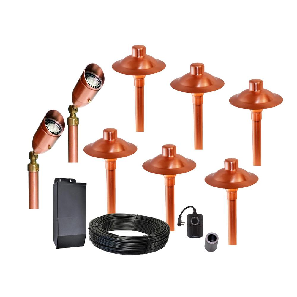Professional Series Low-Voltage Brushed Satin Copper Outdoor LED Landscape Path