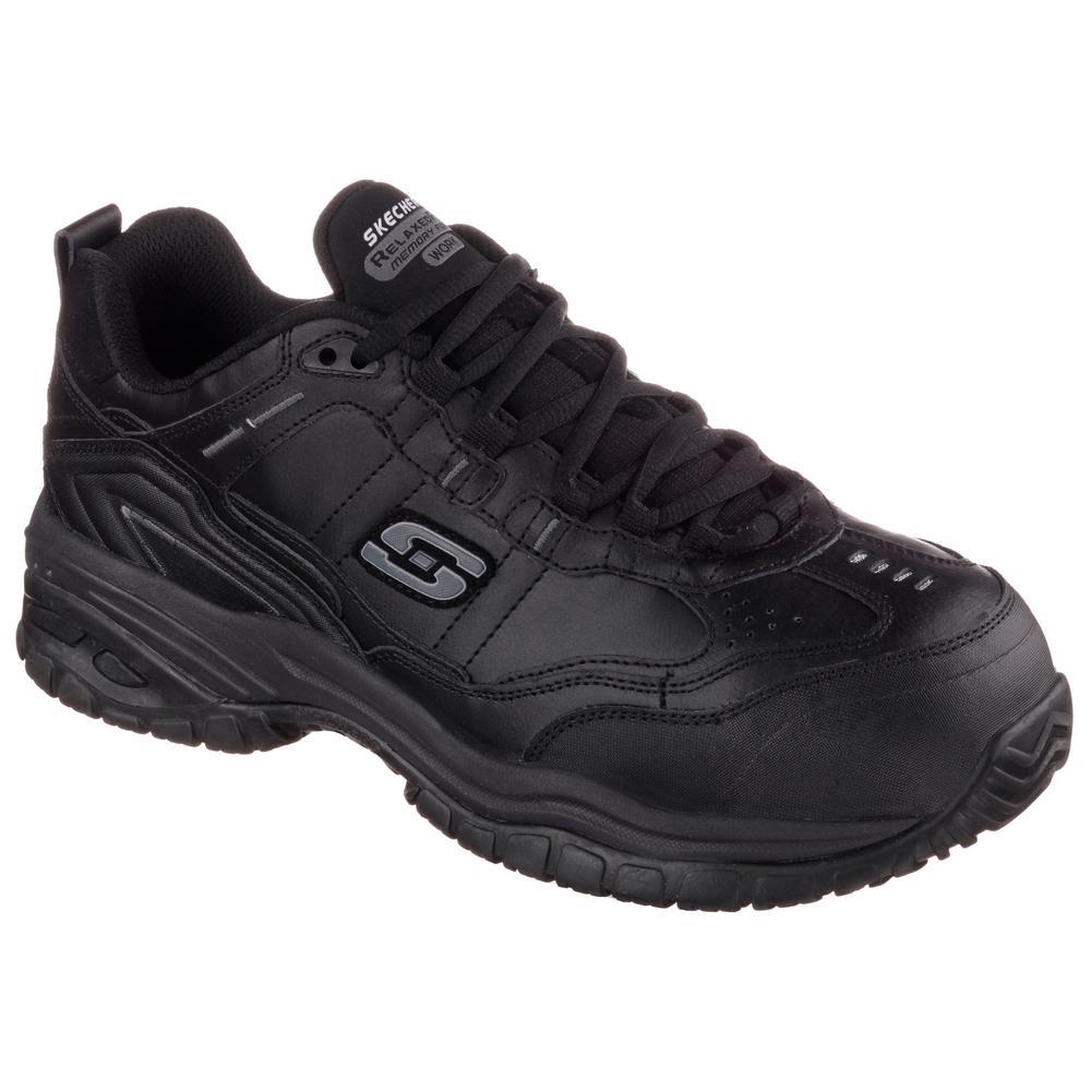 Skechers Soft Stride - Chatham Men Size 9W Black Leather Work Shoe