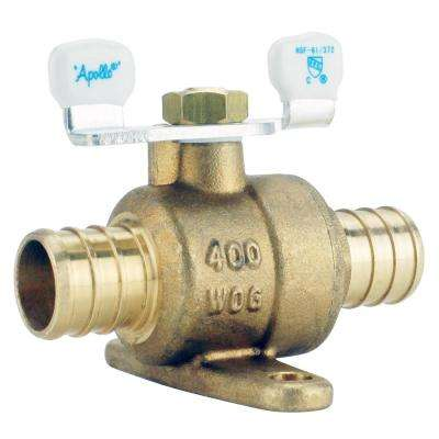 3/4 in. Brass PEX Barb Ball Valve with Tee Handle and Mounting Pad