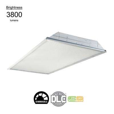 2 ft. x 4 ft. White Integrated LED Drop Ceiling Troffer Light with 6400 Lumens, 4000K