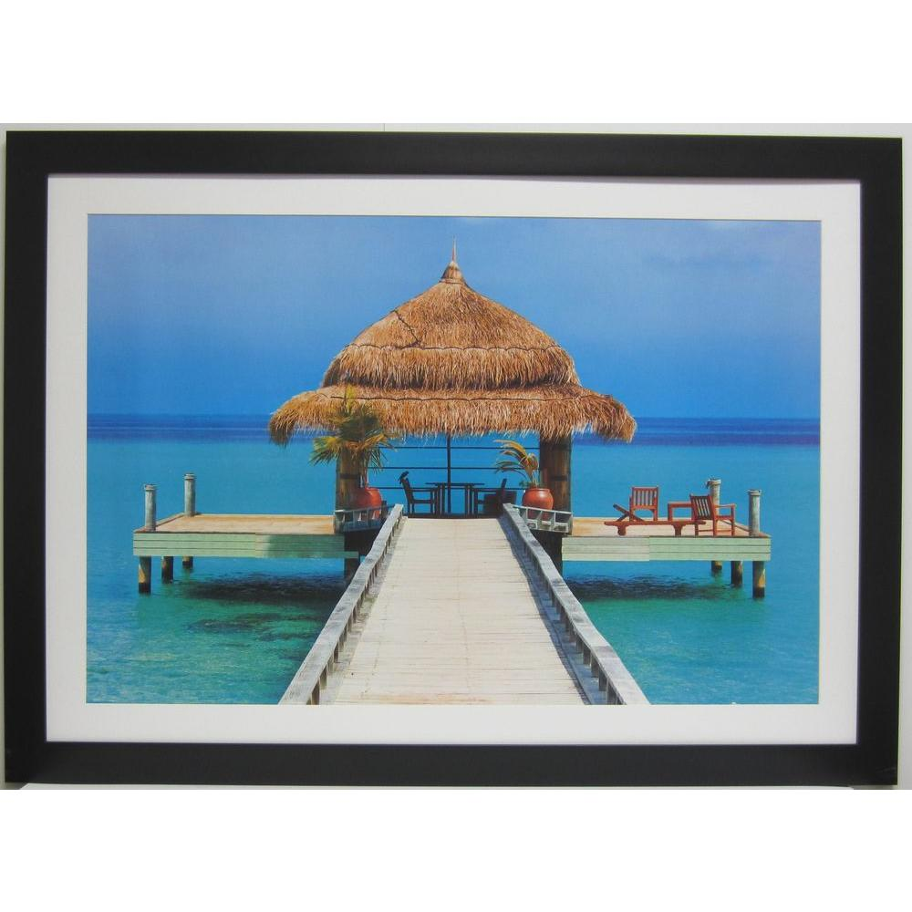 null 44 in. x 32 in. Bungalow in Paradise Framed Wall Art