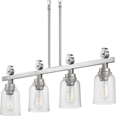 Knollwood 4-Light Brushed Nickel Linear Chandelier with Clear Glass Shades