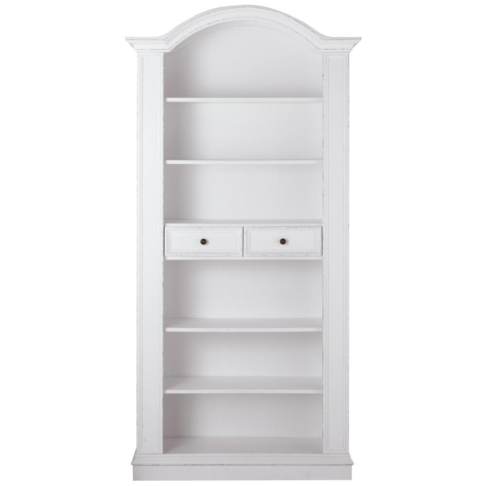 Christina Antique White Storage Open Bookcase
