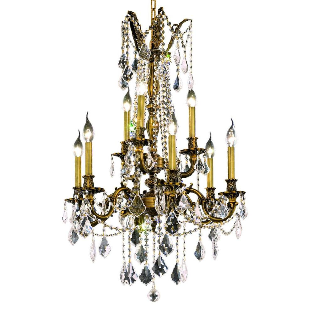 9-Light Antique Bronze Chandelier with Clear Crystal