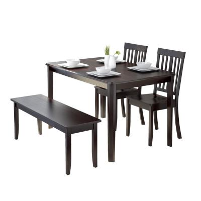 Atwood 4-Piece Dining Set with Cappuccino Stained Bench and Set of Chairs