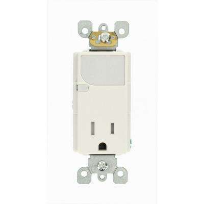 Decora 15 Amp Combination Single Outlet with LED Sensor Guide Light, White