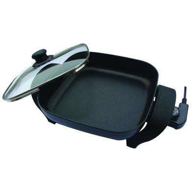 8 in. Black Non-Stick Electric Skillet with Heat Resistant Handles