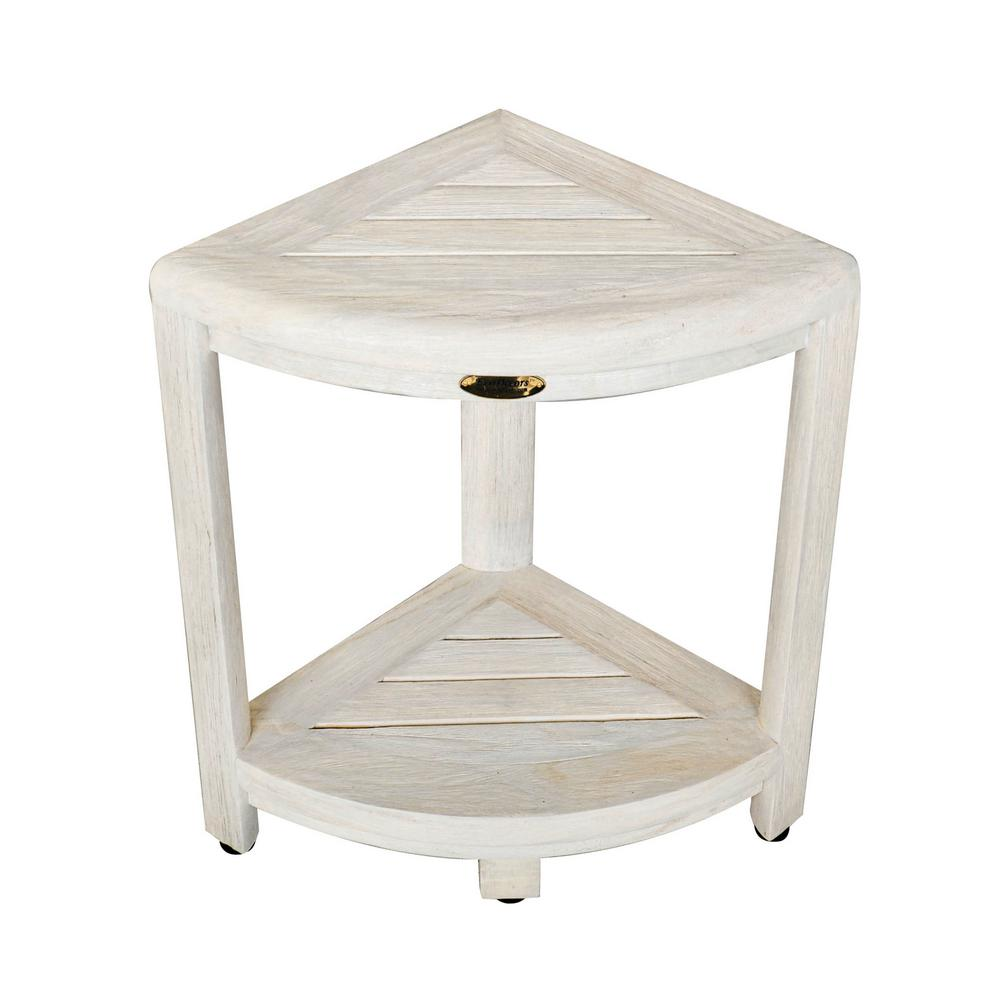 Oasis 2-Tier Teak Corner Shower Stool in White Wash-ED1122 - The ...