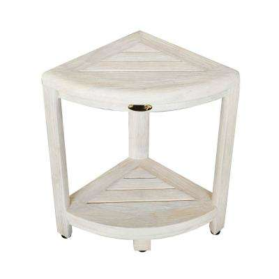 Oasis 2-Tier Teak Corner Shower Stool in White Wash