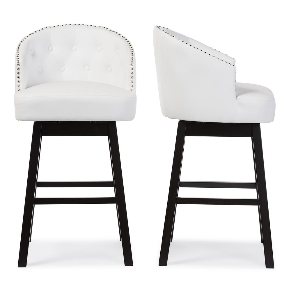 Baxton Studio Avril White Faux Leather Upholstered 2 Piece Bar Stool Set