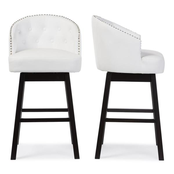 Avril White Faux Leather Upholstered 2-Piece Bar Stool Set
