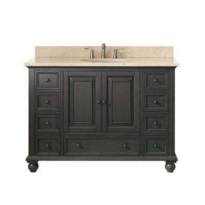 Thompson 49 in. W x 22 in. D x 35 in. H Vanity in Charcoal Glaze with Marble Vanity Top in Galala Beige with Basin