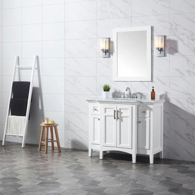 Sassy 42 in. W x 22 in. D Vanity in White with Marble Vanity Top in White with White Sink