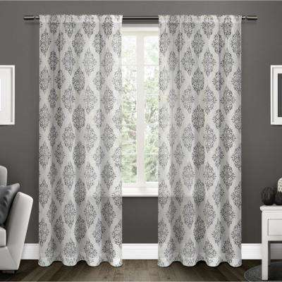 Nagano 54 in. W x 84 in. L Sheer Rod Pocket Top Curtain Panel in Black Pearl (2 Panels)