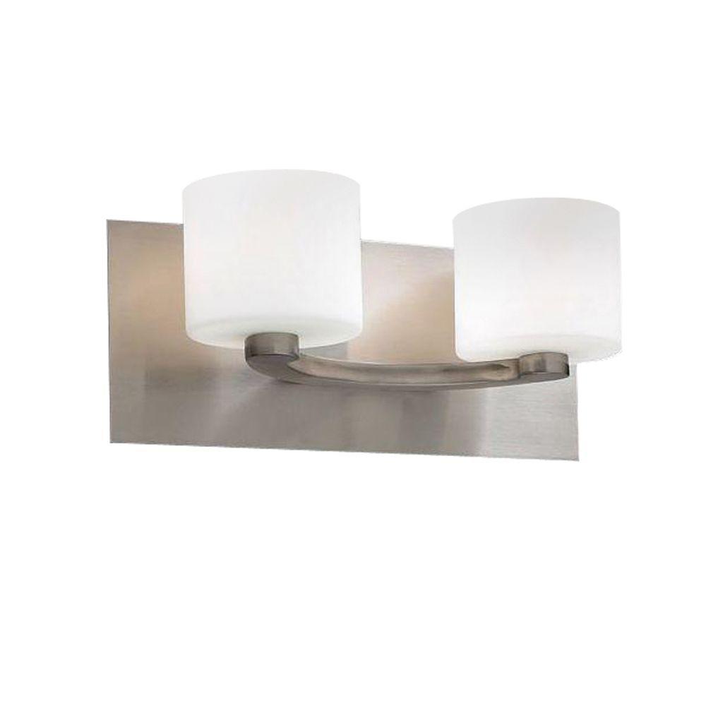 2-Light Satin Nickel Bath Vanity Light with Matte Opal Glass