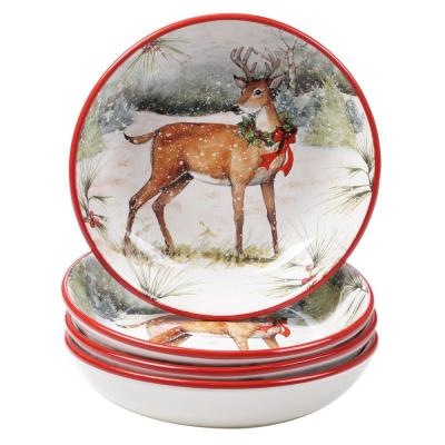Winter Forest Multicolored Earthenware 36 oz. Soup Bowl (Set of 4)