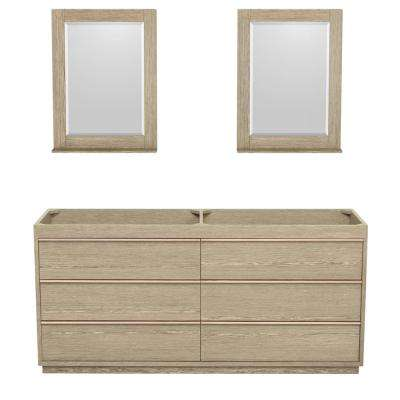 Naya 71.25 in. W x 22 in. D Vanity Cabinet with 24 in. Mirrors in Ash Gray