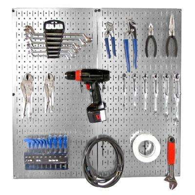 32 in. x 32 in. Shiny Metallic Galvanized Steel Pegboard Starter Kit with Black Hook Pegboard Accessories