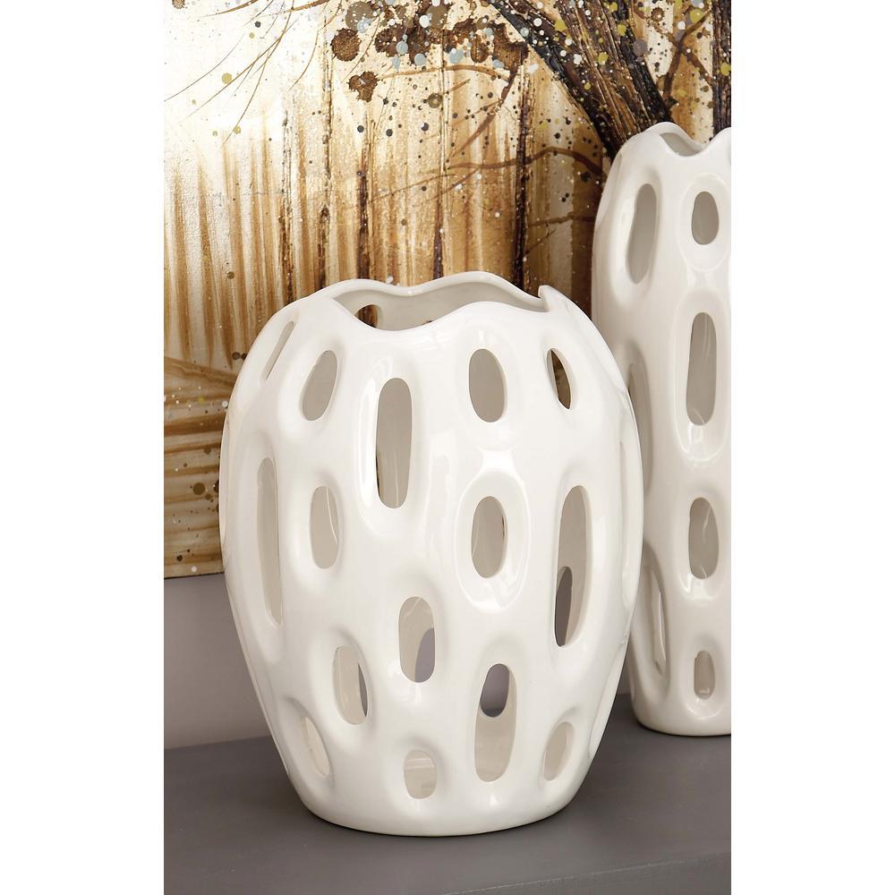 Sunken Oval Lacquered White Ceramic Decorative Vase