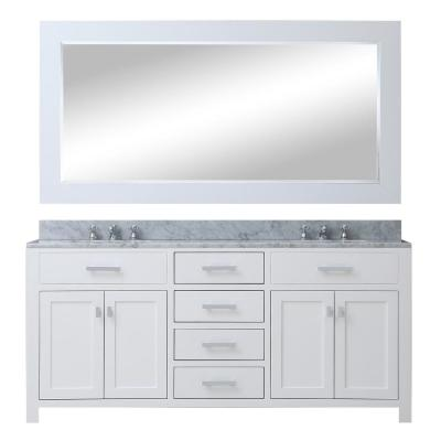 Madison 72 in. Vanity in Modern White with Marble Vanity Top in Carrara White and Matching Mirror