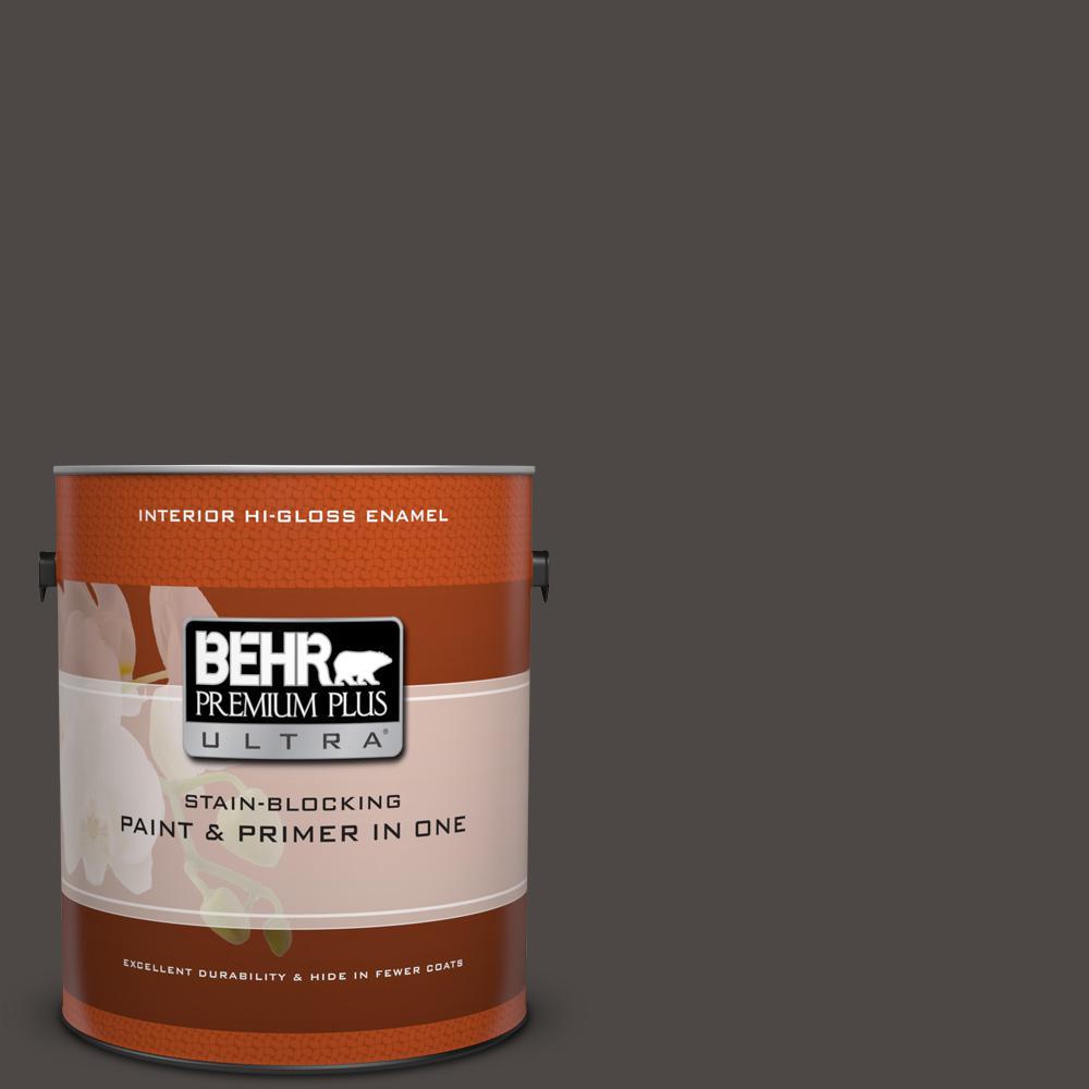 1 gal. #N530-7 Private Black Hi-Gloss Enamel Interior Paint