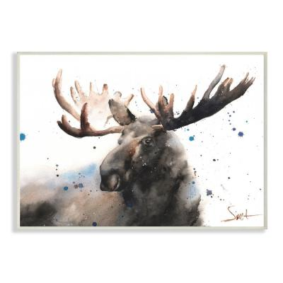 "12.5 in. x 18.5 in. ""Majestic Moose Watercolor Painting with Blue Splatter"" by Eric Sweet Wood Wall Art"