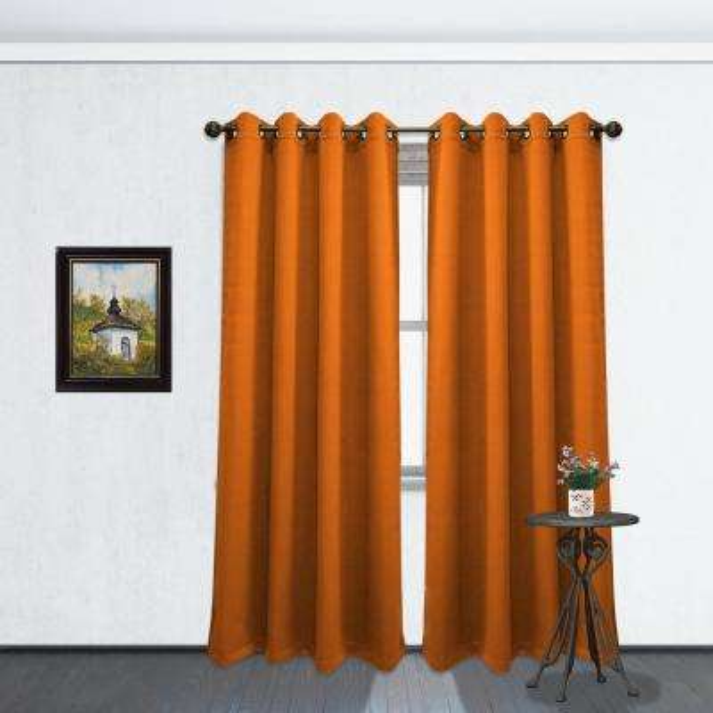 84 in. L Blackout Grommet Curtain Panel in Orange