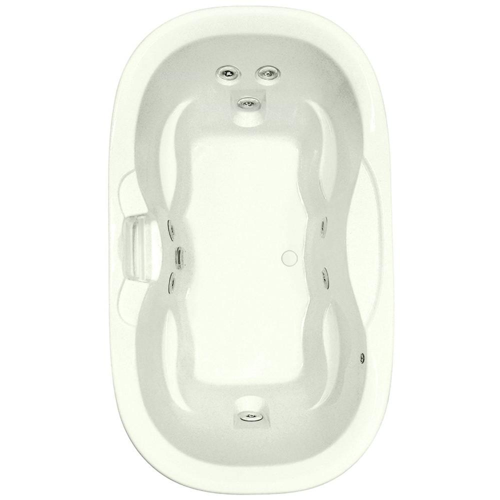 Aquatic Universal Oval 5.8 ft. Center Drain Acrylic Bathtub in Biscuit With Heater