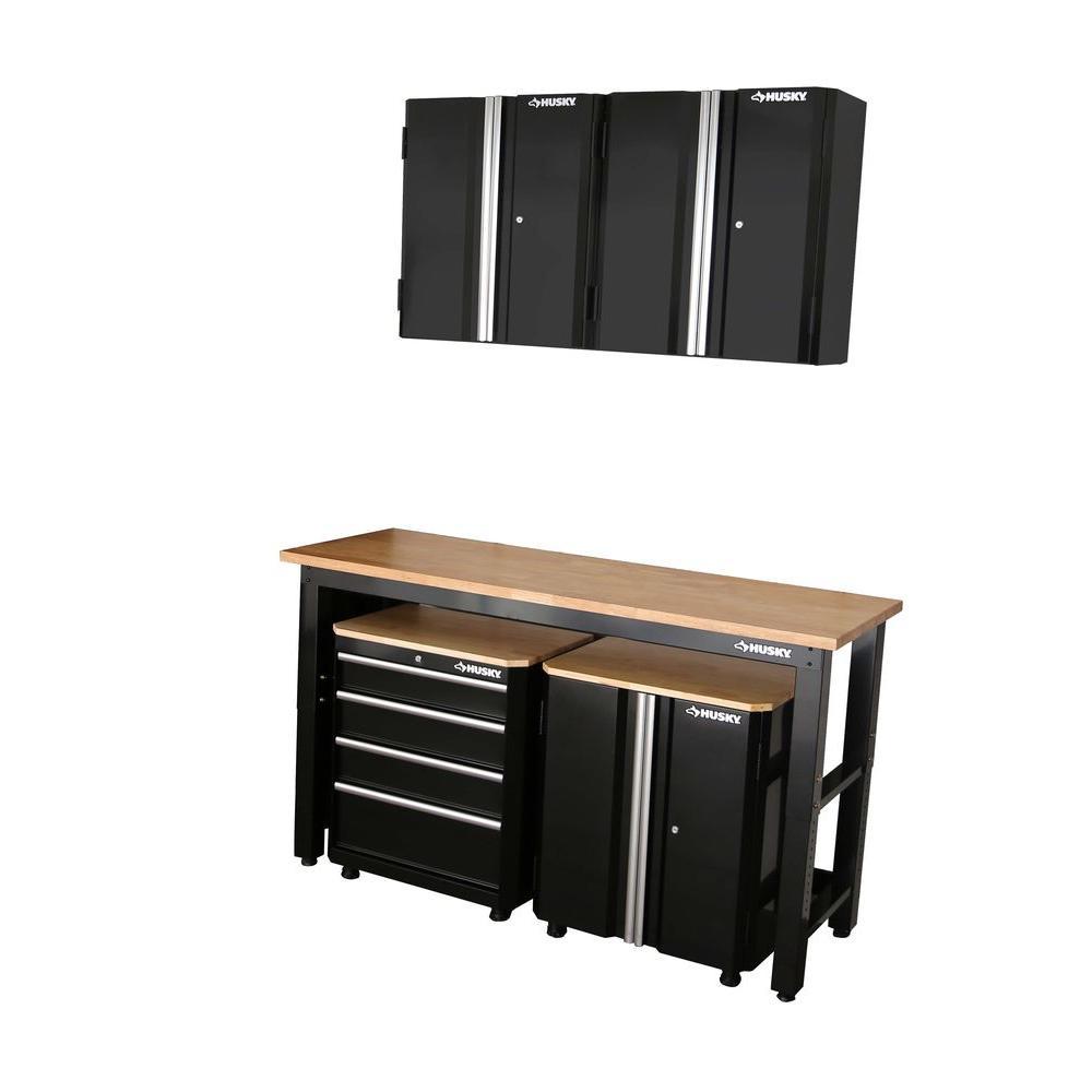 Husky 98 In H X 72 W 24 D Steel Garage Cabinet Set Black 5 Piece G07207S US