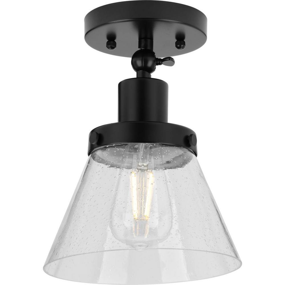 Progress Lighting Hinton 1-Light Matte Black Seeded Glass Industrial Flush Mount Ceiling Light