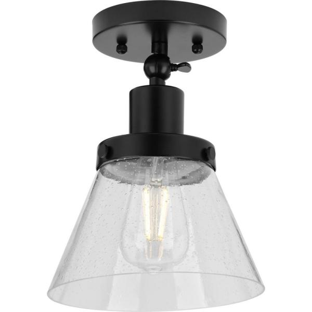 Hinton 1-Light Matte Black Seeded Glass Industrial Flush Mount Ceiling Light