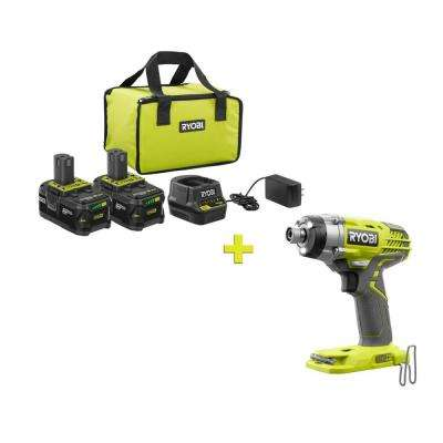 18-Volt ONE+ High Capacity 4.0 Ah Battery (2-Pack) Starter Kit with Charger and Bag with FREE ONE+ 1/4 in Impact Driver