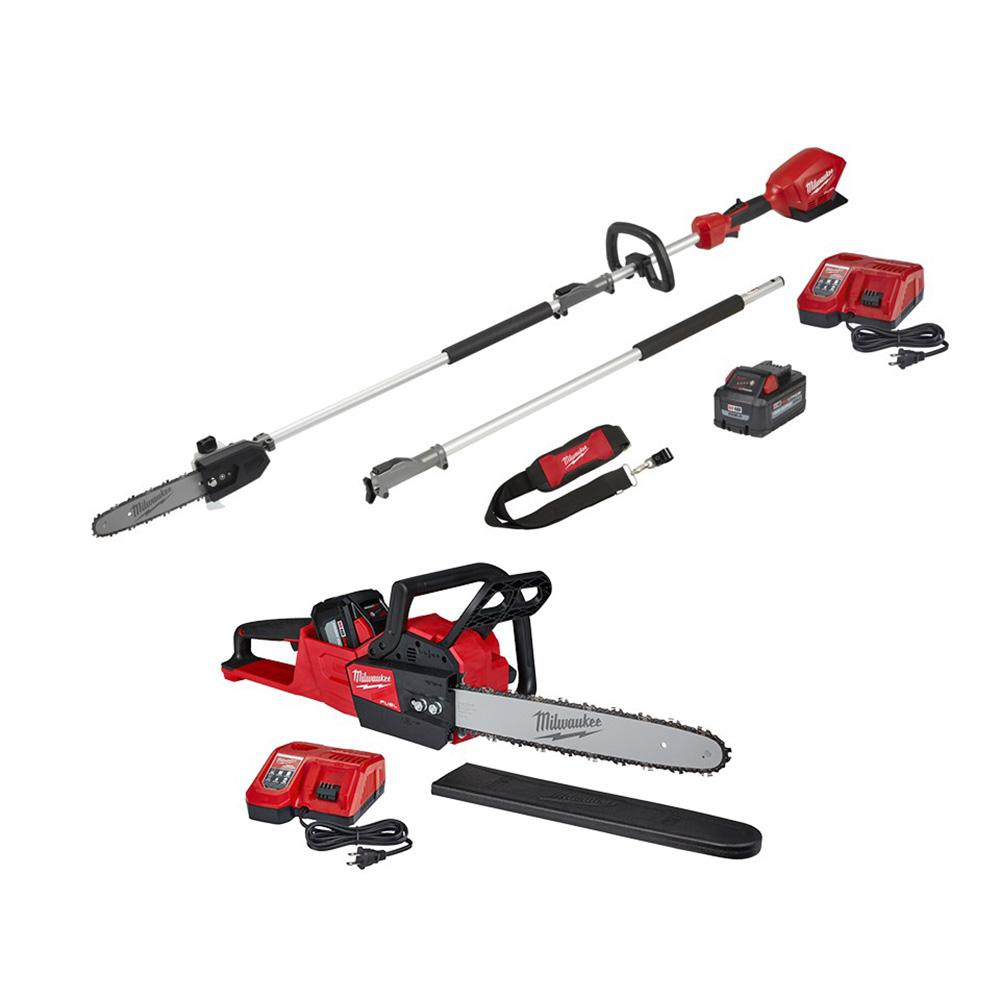 Milwaukee M18 FUEL 18-Volt Lithium-Ion Brushless Cordless 10 in. Pole Saw & 16 in. Chainsaw Combo Kit W/ Two Batteries