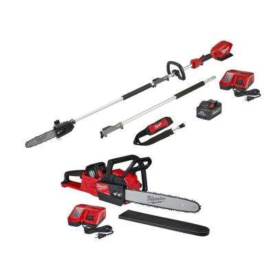 M18 FUEL 18-Volt Lithium-Ion Brushless Cordless 10 in. Pole Saw & 16 in. Chainsaw Combo Kit W/ Two Batteries